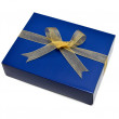 Stock Photo: Single blue gift box with gold ribbon and bow isolated on white