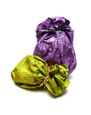 Bright gift sack isolated on the white — Stock Photo