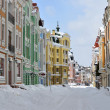 Multi-colored buildings in Kiev taken on Podol in march 2013 — Foto Stock