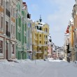 Multi-colored buildings in Kiev taken on Podol in march 2013 — Stock Photo