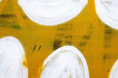Yellow metal panel with white paint close up — Stock Photo