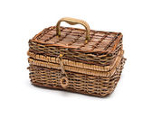 Wicker basket isolated on white background — Stock Photo