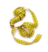Miara zwijana na białym tle żółty — Zdjęcie stockowe