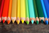 Crayons On Wood — Stock Photo