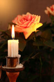 Candle And Rose — Stockfoto
