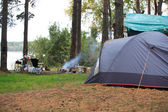 Tent Near Lake — Stock Photo