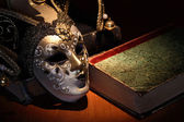 Mask And Book — Stock Photo