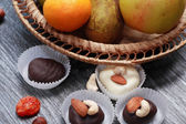 Chocolate And Fruits — Stock Photo