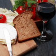 Camembert And Wine — Stock Photo