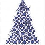 Christmas tree- blue stars — Stock Vector #1302141