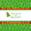Green christmas card with ribbon — Stock Vector