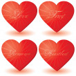 Set of 4 hearts with love words — Stock Vector #1624488