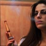 Girl smokes — Stock Photo #46978697