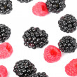 Blackberry and raspberries closeup on white — Stock Photo #12732838