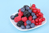 Assortment of berries on white plate — Stock Photo
