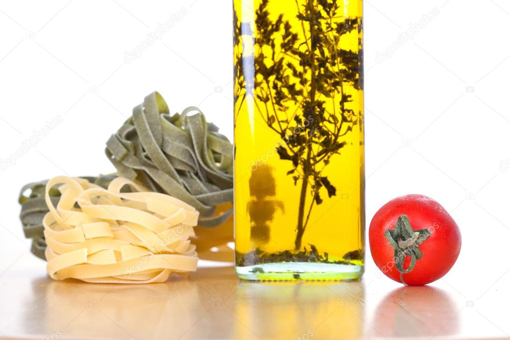 Set of ingredients and spice for pasta cooking, closeup on white — Stock Photo #12733436