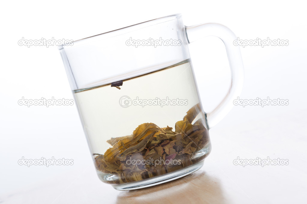 Green tea in glass cup with leafs, closeup on white background  Stock Photo #12733486