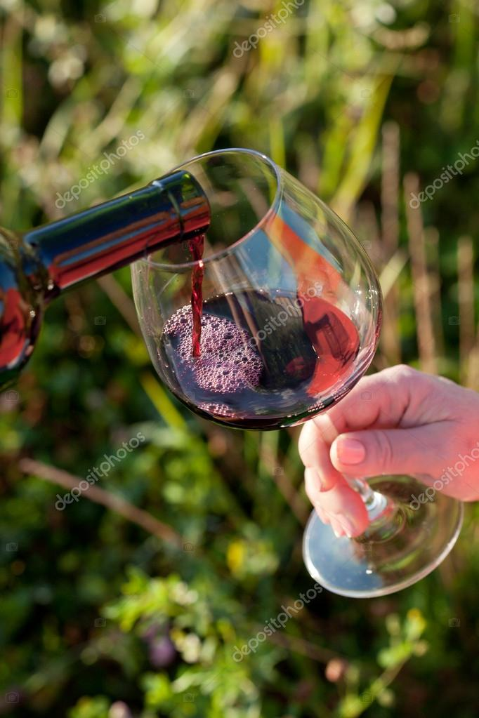 Wine pouring from bottle, outdoor picnic — Stock Photo #12733546