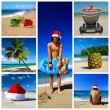 Santa su collage di spiaggia tropicale — Foto Stock