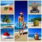 Santa su collage di spiaggia tropicale — Foto Stock