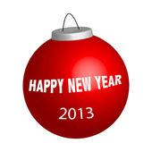 Nieuwjaar bal met teken gelukkig nieuw jaar — Stockfoto