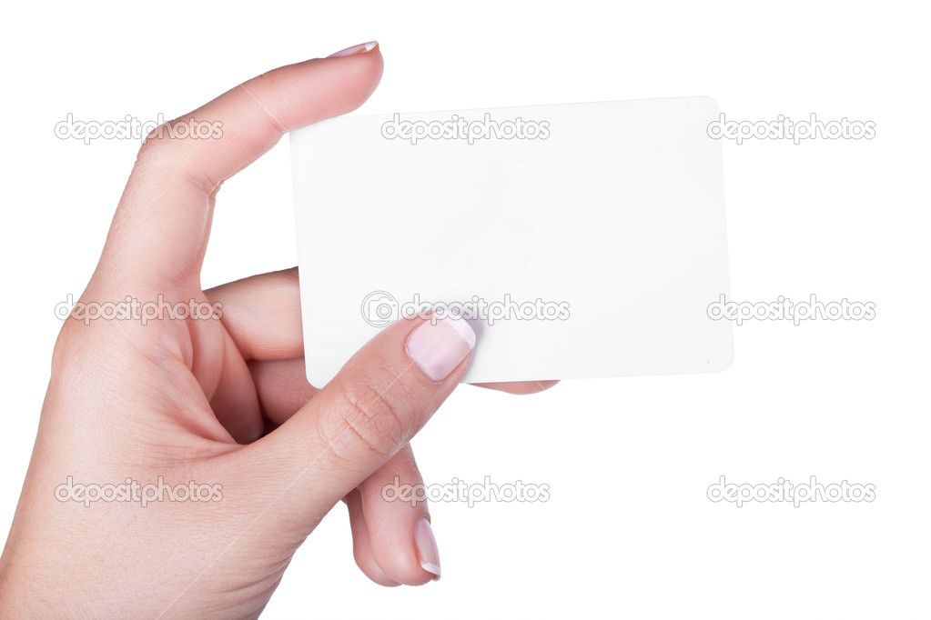 Hand with white card, isolated on white background — Stock Photo #13703628