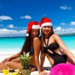 Celebrating christmas on tropical beach - Stock Photo