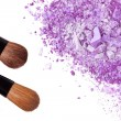 Crumbled eyeshadow with brush - Stok fotoğraf