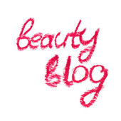"Inscription lipstick ""beauty blog"" for personal diary — Stockfoto"