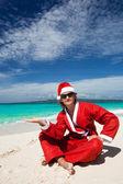 горячие рождества счастливой на пляже — Стоковое фото