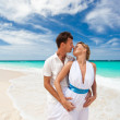 New married couple on beach — Stock Photo