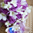 Bridal bouquet with wedding rings - Stock Photo