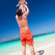 Happy father and little child on beach — Stock Photo #25231917