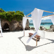 Wedding arch on caribbean beach — Stock Photo