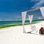 Wedding arch on beach — Stock Photo