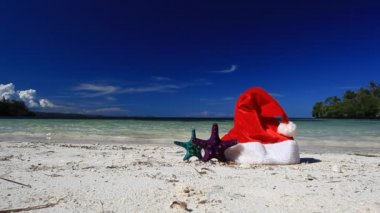 Santa Claus hat and starfish on caribbean beach — Vídeo Stock