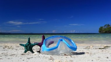Swimming mask and starfish on beach — Stock Video
