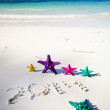 Numbers 2014 on white sandy beach — Stock Photo #31465625