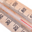 Atmospheric wooden thermometer — Stock Photo