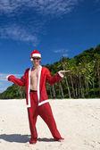 Hot Happy Chistmas on beach — Stock Photo