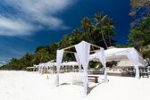 Wedding arch on caribbean beach — Stock Photo