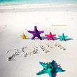 Numbers 2014 on white sandy beach — Stock Photo