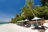 Sun umbrellas and beach chairs on tropical coast — Stock Photo