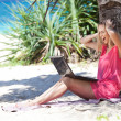 Blond girl with a laptop on tropical beach — Stock Photo #33764943
