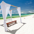 Wedding arch decorated onl beach — Stock Photo