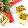 New year star and present boxes — Stock Photo
