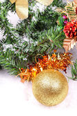 Decoration toys on new year tree branch — Foto Stock