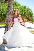Tropical wedding, bride near palm tree — Stock Photo