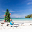 Celebration New Year on tropical beach, 2014 — Stock Photo