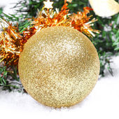 Christmas ball on new year tree — Stock Photo
